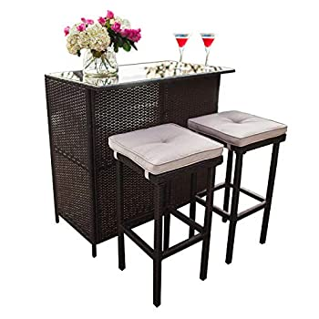 Patiomore 3-Piece Patio Outdoor Bar Set with Two Stools and Glass Top Table Patio Brown Wicker Furniture with Removable Cushions for Backyards Porches Gardens or Poolside