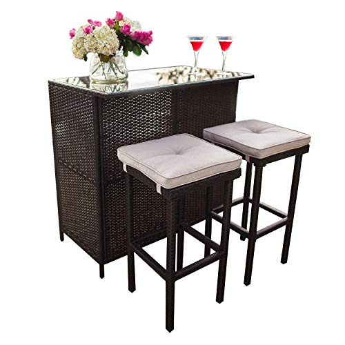 Patiomore 3-Piece Patio Outdoor Bar Set with Two Stools and Glass Top Table Patio Brown Wicker Furniture with Removable Cushions for Backyards, Porches, Gardens or Poolside
