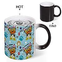 Discoloration Mug Cute Yorkie Cartoonかわいいヨーキー漫画 変色マグコーヒーマグミルクカップホーム/オフィス/顧客カップルギフト330 ml耐久性のある耐熱水マグ