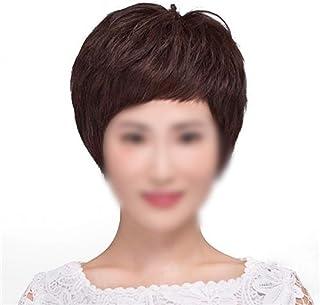 MAGAI Aguja de la Mano Pelo Real Corto Cabello Liso Peluca Natural esponjosa para Mujeres Vestido