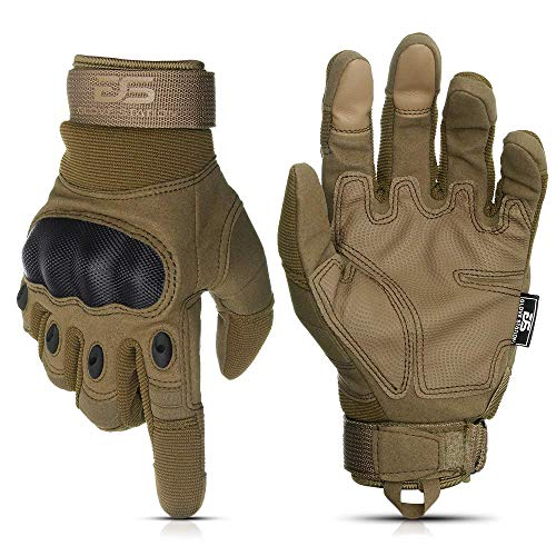 Glove Station The Combat Military Police Outdoor Sports Tactical Rubber Knuckle Gloves for Men, Tan, Medium Size, 1-Pair