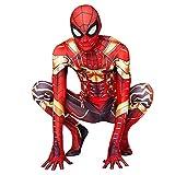 XNheadPS Iron Spiderman Masque Costume Cosplay Iron Man Bodys Enfants Adultes Déguisements Outfit Halloween Noël Carnaval Combinaisons Super-Héros 3D Imprimer Zentai, Golden Iron Man - Kids/140~150cm