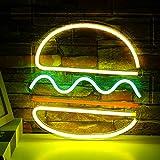 Hamburger Leuchtreklame Led Neon Wandschild USB Power Neon Leuchtreklame Für Schlafzimmer Kinderzimmer Küche Shop Laden Kindergarten Dekor Weihnachtsfest Geschenk (Gelbgrün)