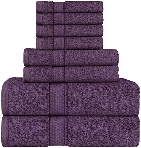 Utopia Towels - Juego de Toallas; 2 Toallas de baño, 2 Toallas de Mano y 4 toallitas - 100% Algodón (Ciruela)