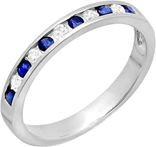 Dazzlingrock Collection 10K Gold Round White Diamond & Blue Sapphire Ladies Anniversary Wedding Stackable Ring Band 1/2 CT
