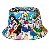 XCNGG Sombrero de Pescador Sa-il-o-r Mo-on Men 's Women' sGorra con Visera al Aire Libre Sombrero de Cubo Moda Gorra de béisbol Negra