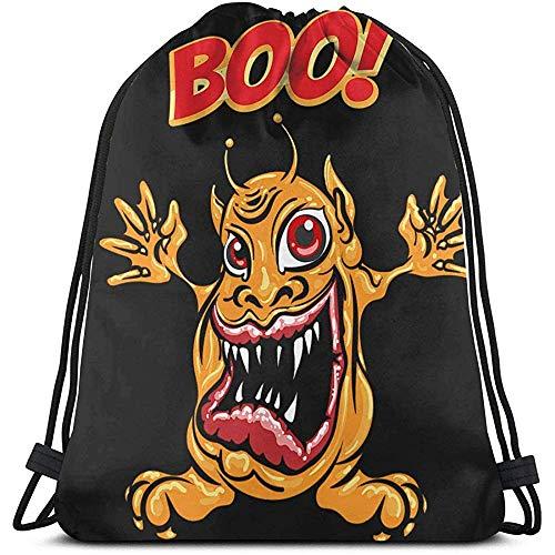 Bolso con cordón Unisex Monstruo de Dibujos Animados con fraseología Boo Mochila Sports Gym School Bag