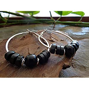 ✿ 4 CM SCHWARZER ASAI SAMEN & NATUR HOLZ BOHO TRIBAL CREOLEN ✿ Ohrringe im Bali Stil mit Samen Asai, Acai, Natur…