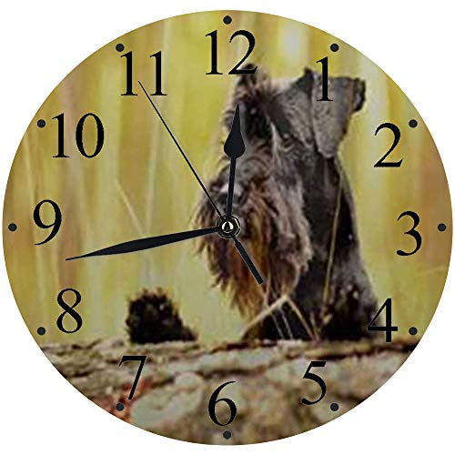 LUHUN Reloj de Pared Moderno,Bozal de Perro Schnauzer Miniatura,Reloj de Cuarzo de Cuarzo Redondo No-Ticking para Sala de Estar 30 cm