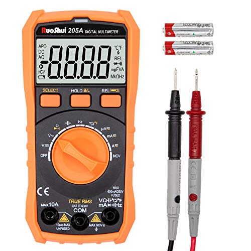 Ruoshui Digital Multimeter, Mini True RMS 6000 Counts Auto-Ranging Amp Volt Ohm Meter, Portable Voltage Tester with NCV Function, AC/DC Voltage Current Detector with LCD Backlight Display