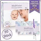 MediVinius 10, 20 oder 50 Schwangerschaftstest mit schnellem Ergebnis in unter 5 Minuten I Zuverlässige Pregnancy Test Strips I Frühtest, Hcg Test - 50 Stück