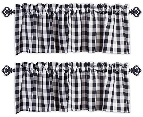 Aiking Home Window Valances - 2-Panels Picnic Checkered Pattern Kitchen Valances with 2.5-inch Rod Pocket for Small Windows, Polyester (56x16 inch, Black/White)