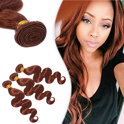 Wavy Human Hair Weave One Bundle Body Wave #33 Dark Auburn 18' Peruvian Sew in Hair Weave Extensions Virgin Hair 100g/bundle