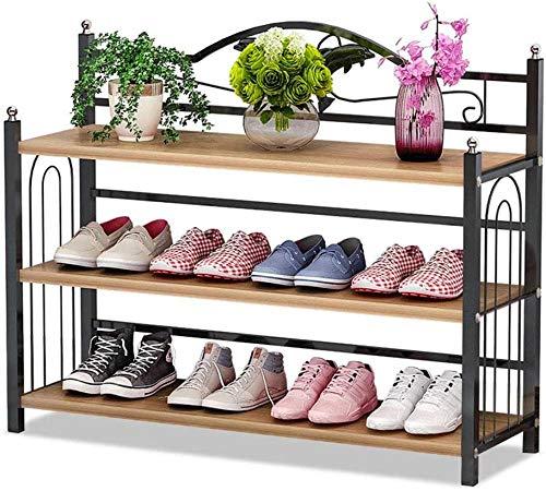 Zapatillas con 3 bastidores de plata de metal de plata de metal de plata, tienda de zapatos, almacenamiento de zapatos para sala de estar para camas, vestidor B81xh56xt24cm (nuez negra)-Nuez nórdica