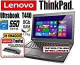 Notebook Ultrabook Lenovo ThinkPad T440 - Intel Core i5-8Gb RAM - 180Gb SSD - 14in IPS HD+ 1600x900...