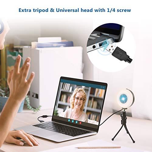 GOAMZ 2K Webcam mit Mikrofon und Ringlicht, HD-Webcam mit Stativ, USB-betriebene Webcam mit Autofokus und Weitwinkel für PC YouTube, Skype-Videoanrufe, Lernen, Videokonferenzen und Spiele