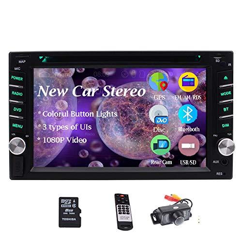 Doble Din Bluetooth estéreo 2 del coche de la rociada del coche AM FM CD receptor DVD / Radio Digital Media 6.2 pulgadas 5-táctil Pantalla táctil de navegación GPS unidad principal USB SD AUX IN remo