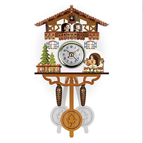 LZLXX Antico Orologio da Parete A cucù Vintage Wall Clock,Orologio da Parete con Naturali Uccelli canori Orologio cucù Design Moderno con Pendolo.