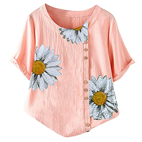 Women's Summer Short Sleeve T-Shirts Loose V-Neck Tops Casual Printing Comfort Pullover Blouses Loose Fit Tops Casual Print Button Pullover A778 Pink