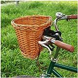 VPPV Cesta de Bicicleta Mimbre, Cesta de Bicicleta para Adultos Tejidas A Mano Desmontable Accesorio de Bici para Manillar Delantero (Color : A)