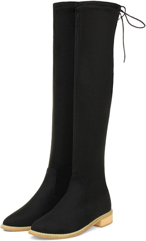 Fashion Heel Womens Flat Heel Round Toe Stretch Leather Handmade Over The Knee Boot Black