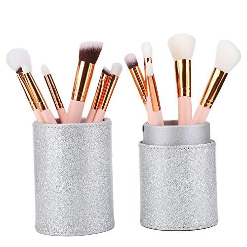 Pinceaux de maquillage Set-Portable Brush Beauté Support de maquillage en cuir PU visage cosmétique brosses Kit conteneur de stockage (4 couleurs)(mèche)