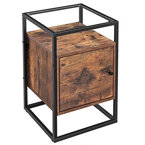 VASAGLE Nachttisch für Boxspringbetten, Beistelltisch, Glastisch mit Schrank,Schlafzimmer, Wohnzimmer, Flur, stabiles Hartglas, einfacher Aufbau, Industrie-Design, Vintage, Dunkelbraun LNT05BX