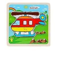 子供のためのジグソーパズル就学前教育学習おもちゃセット3D木製漫画ジグソーパズルボード子供教育玩具(ヘリコプター)