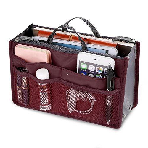 Handtasche Organizer Multifunktions Handtaschenordner Trading Tasche Kosmetik Doppel-Reißverschluss Multifunktions Tasche Hopper Ordnung Reise Make Up Koffer Tragbar 13 Taschen Bag(Wein Rot)