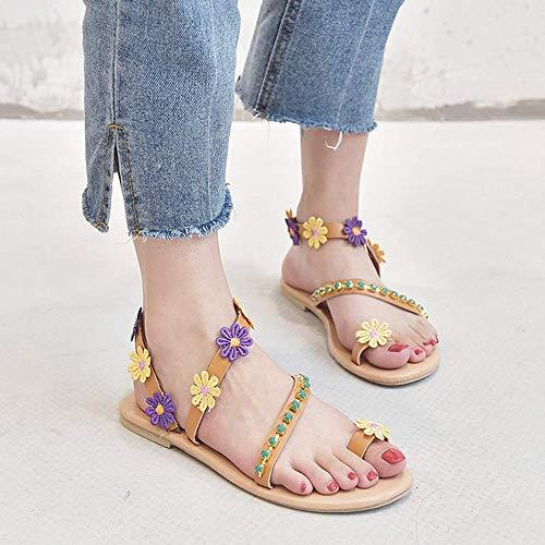 JFFFFWI Sandalias Planas para Mujer Diamantes de imitación de Verano Flor Playa Chanclas Damas Toe Loop Flores Sandalia Playa Chanclas Tangas Zapatos Casuales Bohemios Sandalias de Cuero elástico, 3