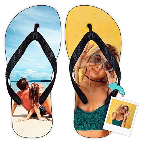 Chanclas Personalizada con Tus Fotos y Texto | Chanclas de Tela y Suela de Goma | Chanclas Ideales para Piscina y Playa | Talla 38-39 (24,7 cm Largo)