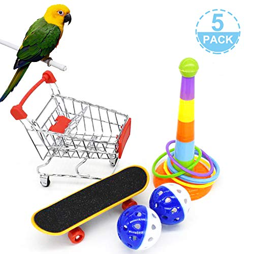 Parrot Toys 5Pack, Mini Shopping Cart, Training Rings,Skateboard and Ball - Playing Standing Training Parrot Toys to Keep Healthy for Budgie Parakeet Cockatiel Conure Lovebird