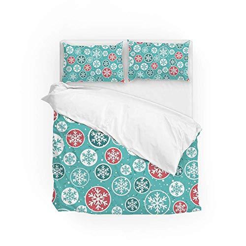 Soft Quilt Bedding Set Colorful Snowflake Duvet Cover with Pillowcases 2 Pieces Set 135 x 200 CM,Single Size