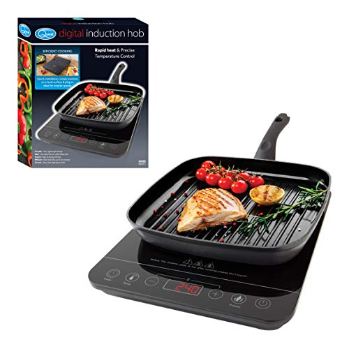 Quest 35839 Single Digital Induction Ceramic Portable Hob Hot Plate with 10 Temperature Settings and Touch Control, 2000W