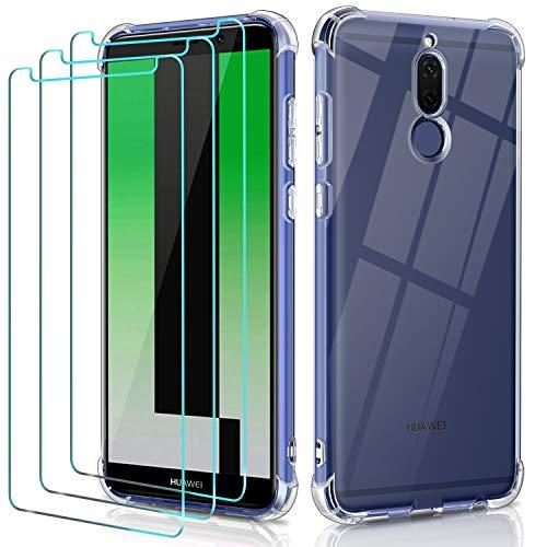 ivoler Funda para Huawei Mate 10 Lite con 3 Unidades Cristal Templado, Carcasa Protectora Anti-Choque Transparente, Suave TPU Silicona Caso Delgada Anti-arañazos Case