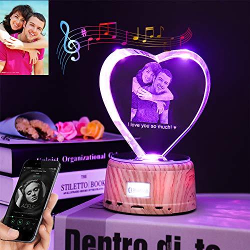 Benutzerdefiniertes Foto Herzförmiges LED-Nachtlicht Kristall 3D-Fotolampe Musik abspielen Bluetooth-Lampe Personalisierte Geschenke Weihnachtslicht
