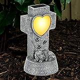 SUNNYPARK Dog Memorial Stone Solar Lights, Loss of Dog Memorial Sympathy Gifts Tombstone Grave Maker Dog Statue Garden Decor Outdoor