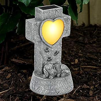 SUNNYPARK Dog Memorial Stone Solar Lights Loss of Dog Memorial Sympathy Gifts Tombstone Grave Maker Dog Statue Garden Decor Outdoor