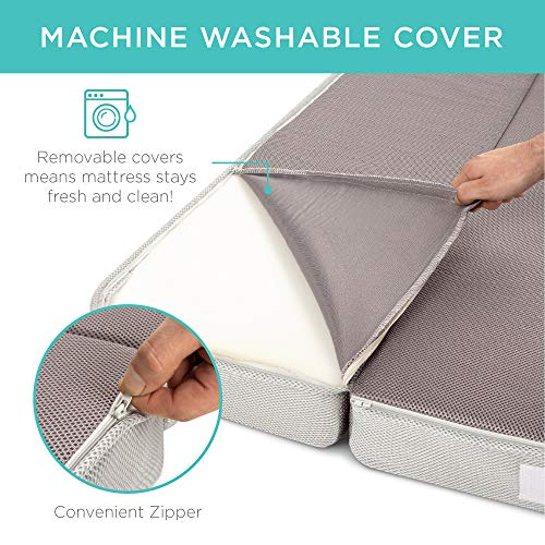 Best Choice Products 4in Thick Folding Portable Queen Mattress Topper w/Bonus Carry Case, Plush Foam, Washable Cover - Gray