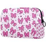 Yitian Pink Bows Pattern Girls Romantic Cosmetic Bag para mujeres, adorables bolsas de maquillaje espaciosas bolsa de aseo de viaje