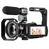 4K Camcorder Video Camera ORDRO HD 1080P 60FPS Vlog Camera Recorder IR Night Vision and WiFi Camcorder with Microphone, Wide Angle Lens, Lens Hood and 2 Batteries