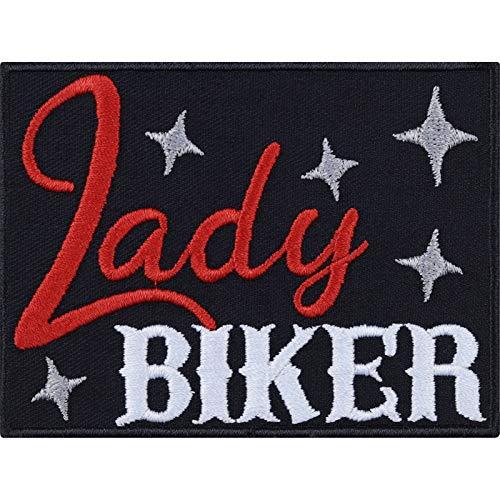 Parche de mujer motero, parche para planchar, ideal como regalo, rockero, adhesivo de metal resistente, para moto, para chaquetas, chalecos, vaqueros, barcos, maletas, 90 x 65 mm