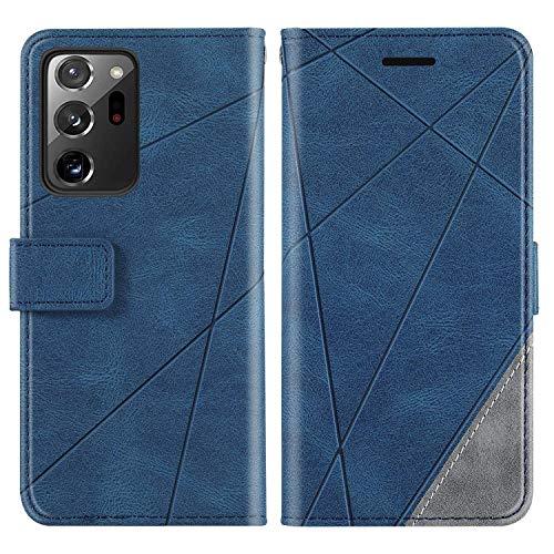 KKEIKO Hülle für Galaxy Note 20 Ultra, Brieftasche PU Leder Schutzhülle Klapphülle Tasche mit Kartensteckplatz, Stoßfest TPU Hülle für Samsung Galaxy Note 20 Ultra - Blau