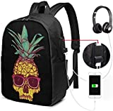 Rucksack mit USB-Schnittstelle A Pineapple with Dark Glasses Waterproof Laptop Backpack with USB Charging Port Headphone Port Fits 17 Inch Laptop Computer Backpacks Travel Daypack School Bags for Men