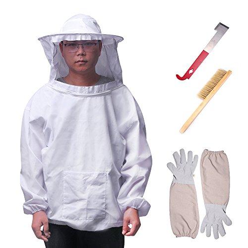 Imkerei-Werkzeug-Set, Imkerei Schutzausrüstung Atmungsaktiv Imkerei-Anzug Langarmjacke mit Handschuhen Bienenstock-Bürste J Haken
