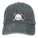 Hoswee Gorra de Béisbol Ajustable Sleeping Kawaii Cat Unisex Trendy Cowboy Outdoor Sports Hat Snapback Sombreros