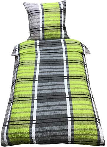 Leonado Vicenti Mikrofaser Seersucker Bettwäsche 135x200 cm 2-Teilig Bettwaren Kissenbezug Bettbezug (Wald Grün)