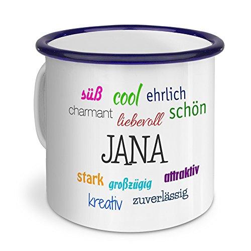 printplanet Emaille-Tasse mit Namen Jana - Metallbecher mit Design Positive Eigenschaften - Nostalgie-Becher, Camping-Tasse, Blechtasse, Blau