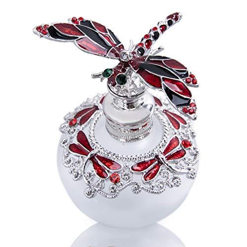 YU FENG 40 ml röd trollslända kork parfymflaska fina kristaller besmyckade tom påfyllningsbar glasflaska