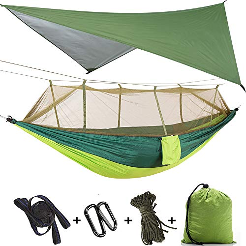 TOPCHANCES Upgrade Ultralight Portable Nylon Camping Hammock Mosquito Net with Rain Fly Tent Tarp for Outdoor, Hiking, Backpacking, Travel (Light Gree+Green Hammock with Green Net)